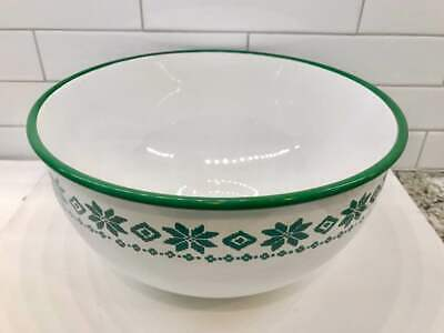 RALPH LAUREN Large Enamel Bowl White Green Nordic Salad Christmas Holiday Xmas