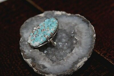 Antique Art Deco Sterling Silver Green Turquoise Peking Glass Carved Ring Rg1