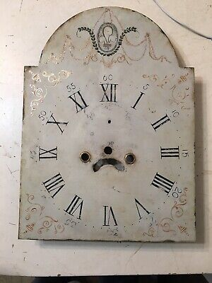 Beautiful Antique Painted Iron Grandfather Clock Dial C. 1800's Scroll Decor