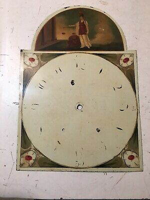 Beautiful Antique Grandfather Clock Dial Hand Painted Lady Of Justice W/ Lion