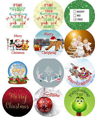 Christmas Gift Envelope Seals Stickers Tags Favor Labels Round 3 Sizes 12 Choice