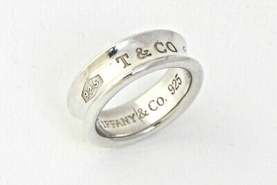Authentic Tiffany & Co. 1837 Band Ring 925 Sterling Silver Size US6 #26168