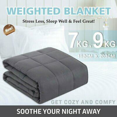 7/9KG Premium Weighted Blanket Deep Relax Sleep Cotton Adults Kids Double Side