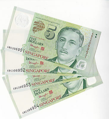 SINGAPORE $5 x 4 Portrait Series, Unc Polymer Notes in running order!!