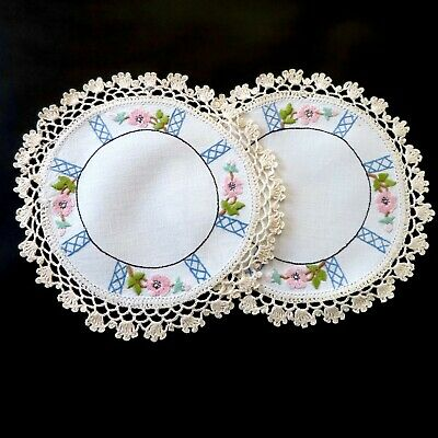 2 x Pretty HAND EMBROIDERED - PINK FLORAL DOILIES - CROCHET EDGE