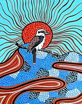 Aboriginal painting by Pati on canvas kookaburra signed comes with COA