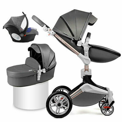Baby Stroller 3 in 1 travel system Bassinet folding Combo Pushchair/&car seat PU