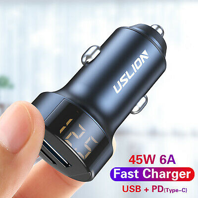 3A Fast Charge QC 3.0 Car Charger USB + PD Type C LED Digital Cigarette Lighter