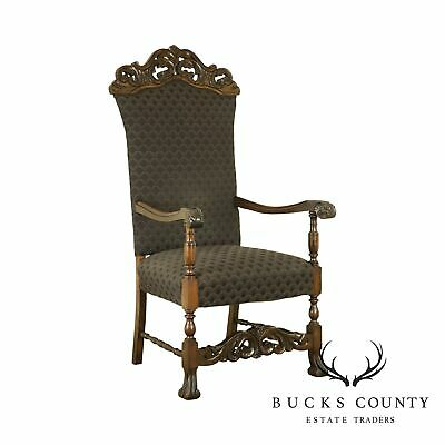 Antique Early 20th Century Renaissance Style Carved Walnut Throne Chair