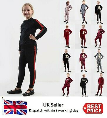 Girls Kids Velvet Hooded Vogue Unicorn Stripe Top & Bottom Lounge Wear Tracksuit