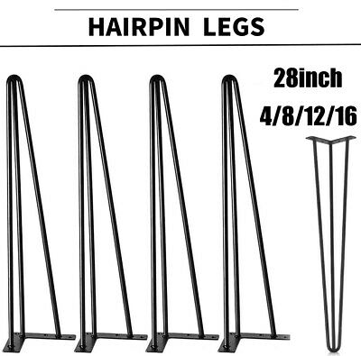 "28"" Hairpin Coffee Table Black Legs Heavy Duty Raw Steel 3 Rods for Office Desk"