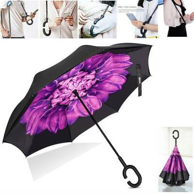 C-Handle Upside Down-Reverse Dual Layer Umbrella Windproof Inside-Out Inverted
