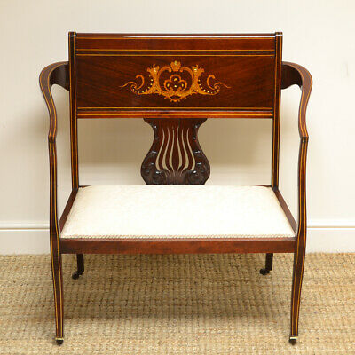 Elegant Inlaid Art Nouveau Victorian Small Antique Settee