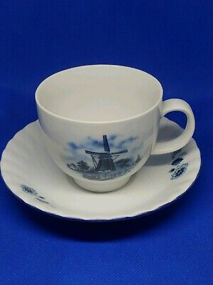Ter Steege bv Delft Blauw Hand Decorated Windmill Tea Cup & Saucer Holland
