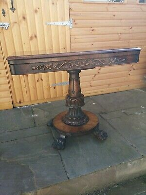 Antique Regency Rosewood Card Games Side Console Table