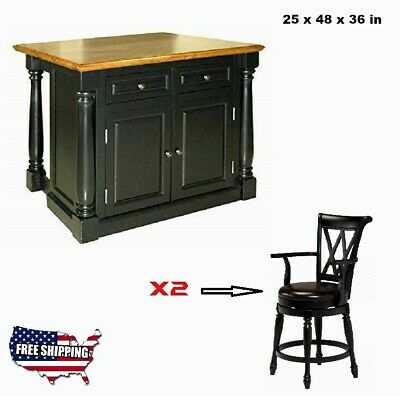 Kitchen Island Table With 2 Stools Storage Cabinet Vintage Oak Wood Furniture HQ