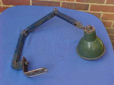 Vintage British Steel & Enamel Articulated Industrial Machinist Engineers Lamp