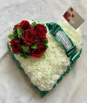 Artificial Silk Funeral Flower Heart Tribute Wreath Rose Luxury Mum Nan Daughter