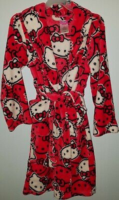 Hello Kitty Plush Robe w/ Belt Red White Black 100% Polyester Girls Size M (8)