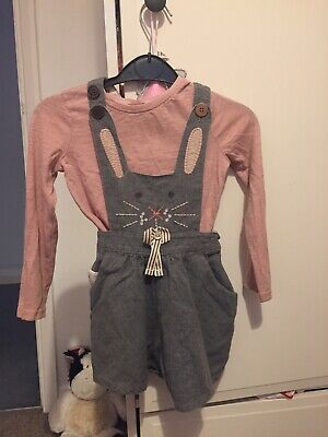 Next Girls Bunny Rabbit Dungarees, 2-3 Years, Grey With Pink Top