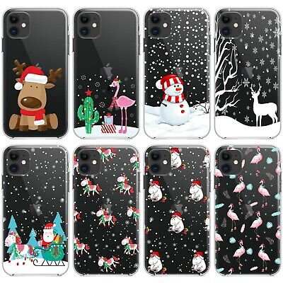 Christmas Festive Clear Phone Case Cover For iPhone 6/7/8 + Plus X XS Max 11 Pro