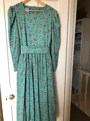 True Vintage Laura Ashley Maxi Dress Needlecord Duck Egg Floral Size 16
