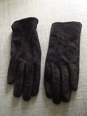 M&S Ladies Black Suede Gloves - Size Small