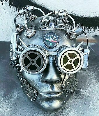 SDL Steampunk Cosplay Tan  Goggles With Distressed Clock /& Gears
