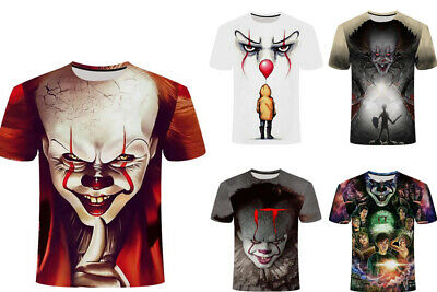 It Pennywise 3D Print T-Shirt Stephen King Horror Clown Black Color Size S - 7XL