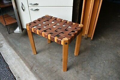 MCM VTG leather strap stool ottoman bench Danish Modern 50's 60's Brazilian styl
