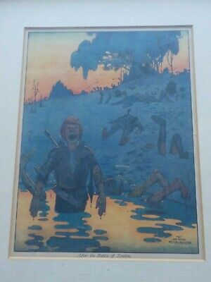 Framed Vintage Heath Robinson Print. After the Battle of Towton