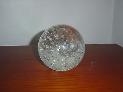 Large and Heavy Round Clear Glass Paperweight with Bubbles