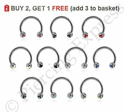 Horseshoe Piercing Bar Circular Barbell Steel Nose Septum Nipple Ring CRYSTAL