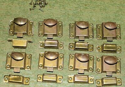 8 Antique Brass Cabinet Cupboard Hoosier Latches with catch Lot Knobs         g2