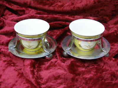 2 Vintage Silver Plate Open Mustard Salt Pots With Floral Ceramic Liners