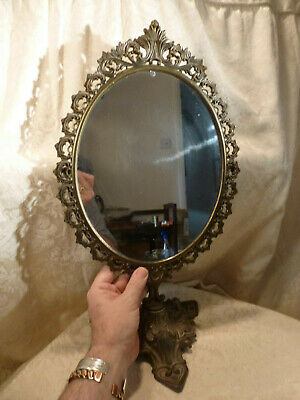 Vintage Italian Ornate Rococo Cast Brass Dressing Table Top Swing Mirror 19.25""
