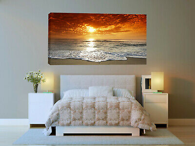 Beach Landscape sunset Nature Rock Canvas Picture Print 20x40 inch ready to hang
