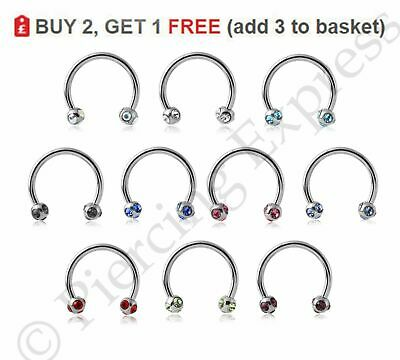 Horseshoe Barbell Circular Bar Steel Septum Nipple Ear Piercing MULTI CRYSTAL