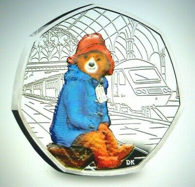 PADDINGTON BEAR AT THE STATION 2018 SILVER PROOF 50p COIN with COA