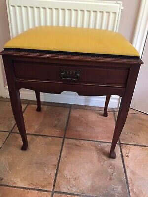 Reupholstered Antique piano stool with Storage In Mustard Leatherette In VGC