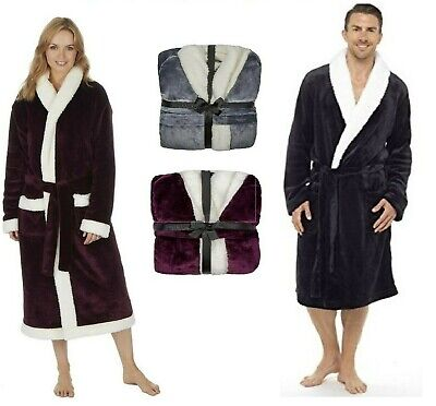 Luxury Dressing Gown Mens Bathrobe and Womens Bathrobe Sherpa Fleece Hooded Gown