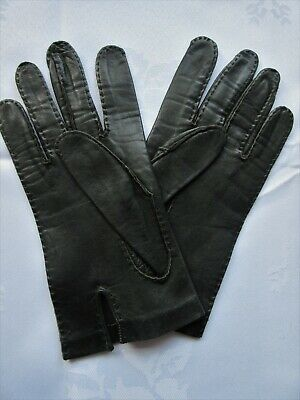 Women's Vintage Pair Of Gloves, Fine Leather In Black Size 8¾  Excellent