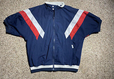 Vintage Christian Dior Mens Track Jacket Short Sleeve Sz Large Blue Red White