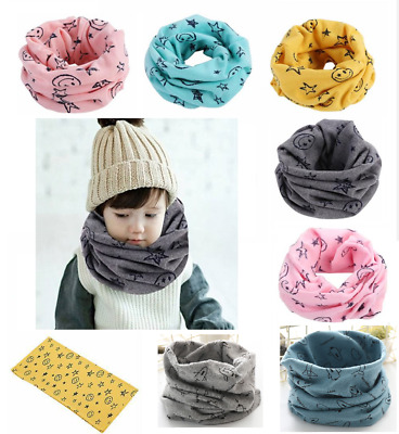 Kids Scarf Baby Snood Scarves Winter Soft Cotton Neck Cover Warmer Boys Girls