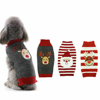 Small To Large Christmas Sweater Cloth Cute Knitted Jumper Apparel For Dog G2H1P
