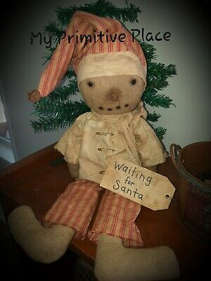 """"""" New"""" handmade to look old~Primitive Christmas Winter Snowman Doll"""