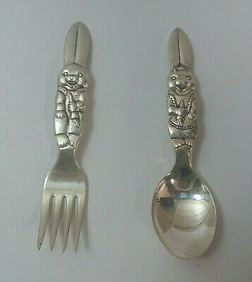 Reed And Barton Silver Plated Rabbit Kids Spoon And Fork Set