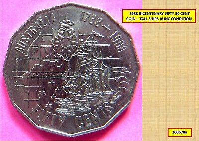 1988 BICENTENARY 50 CENT COIN – TALL SHIPS AUNC 160678a...*