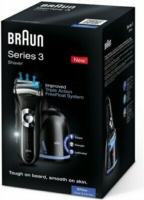 Braun 370cc Shaver Trimmer With Cleaning Charging & Lubricating Dock - BNIB Xmas