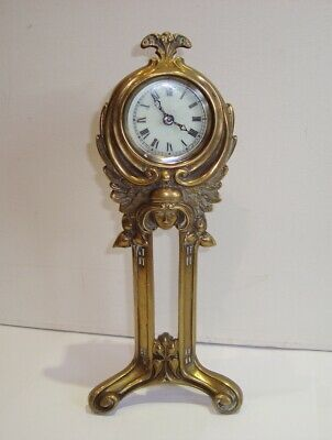 Antique Art Nouveau Brass Maiden Mantel Clock Jugendstil Ansonia